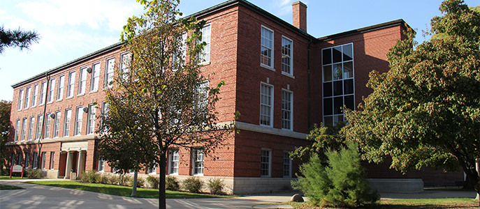 Edwards Hall in the summer.